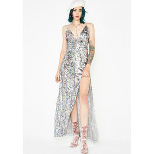 For Love and Lemons Showtime Maxi Silver Sequin